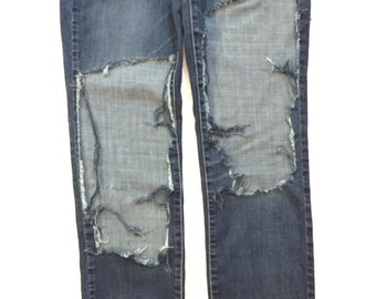 Jackie Keen Custom jeans with thigh holes (size 3)- distressed destroyed jeans denim pants custom blue jeans trending