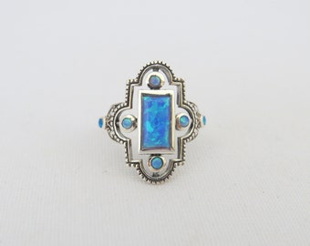 Vintage Sterling Silver Blue Opal Geometric Ring Size 8
