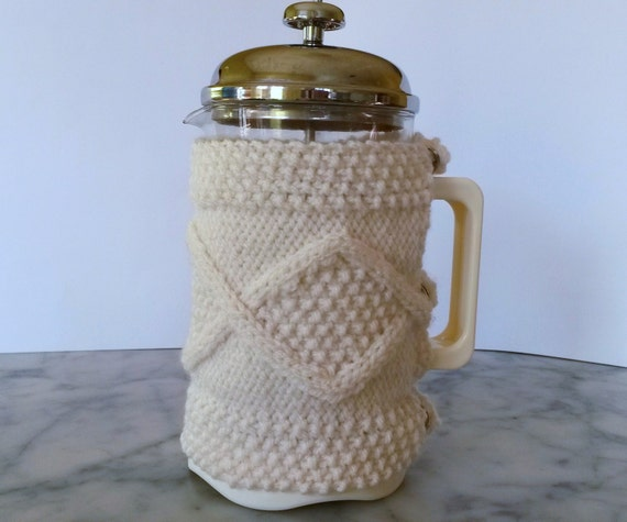 Cafetiere Cosy: Aran knit coffee pot cosy. Made in Ireland. French Press cozy 8 cup coffee jug warmer. Gift for new home or coffee fan