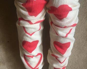 Leg warmers, women's leg warmers, heart leg warmers, 1970s leg warmers, women's leg wear