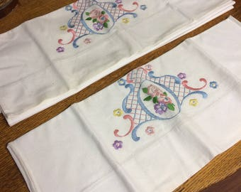 Beautiful Vintage Embroidered Pillow Cases