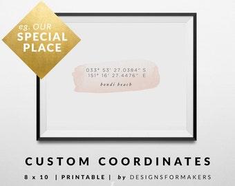 Custom Coordinates - Watercolor Print - Valentines Gift - Wedding Gift - GPS Coordinates - Latitude Longitude Location Print - Pink Print 7