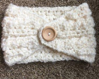 White cable adult earwarmer/headband