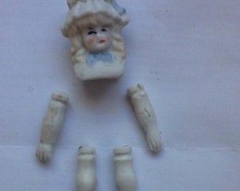 Bisque Bonnet Doll HeadAnd Limbs