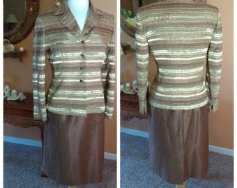 Vintage Stripe 2 pieces set Jacket and Skirt Size 6 Petite by Kasper Business Attire