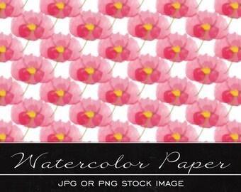 Pretty Pink Floral, digital watercolor paper, drawing, illustration, print, printable, download, scrapbooking, JPG