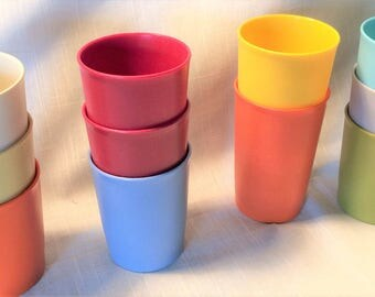 Sale Tupperware VINTAGE 11 Tumblers Harvest Colors Includes 8 oz & 10 oz Nesting, Tupperware, Vintage Tupperware, Harvest color tupperware