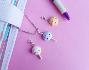 Lollipop planner charm, one lollipop charm, polymer clay charm, lollipop stitch markers, iphone charm, kawaii lollipop charm, bag charm