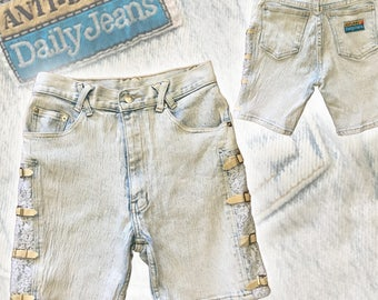 Vintage 80s Bleached High-Rise Denim Shorts With Lace Insets & Buckle Details