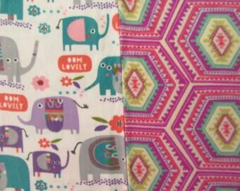 Fleece Tie Blanket-Pretty Elephants and Multicolor Print, medium