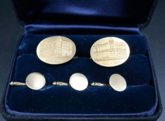 Tiffany and Company 14k Unocal Cufflinks and Shirt Studs  M166