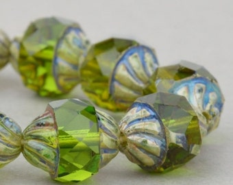 Czech Glass Beads - Spiral Central Cut Beads - Olivine Transparent with Picasso - 10x8mm Beads - 10 Beads