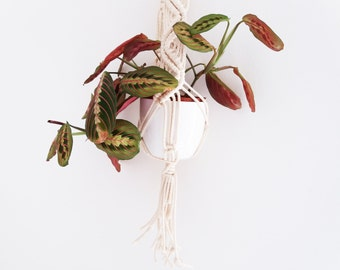 Portavaso bianco in macramè - corda di cotone, vaso appeso, sospensione vaso, porta vaso,decorazione feste, fioriera, decorazione matrimonio