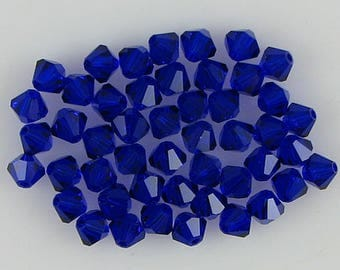 48 4mm Swarovski crystal bicone 5301 Cobalt beads 7788