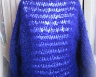 over size Mohair Sweater Open stitch  – Purple Web