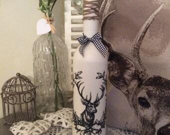Vintage Stag ~ Shabby Chic Decorative Bottle / Candle holder