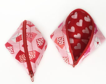 Zipper Bag - Sweet Pea Pod - Love Letters Pink - Red Hearts - Sweethearts - Lazy Girl Designs - Sweet Pea Pouch - Pea Pod Pouch