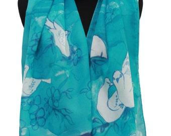 Chiffon turquoise color hand painted scarf,Versatile floral scarf,Bird print scarf,Stylish summer wrap,Rectangular scarf,Chiffon scarf