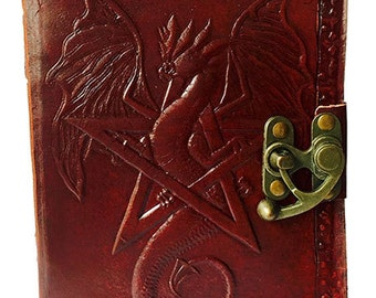 Leather Journal // Blank Leather-Bound Journal // Pentagram with Dragon