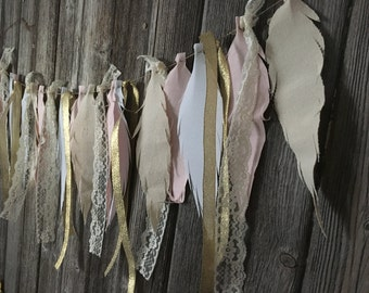 Fabric Feather Garland- Photo Prop- room decoration, teepee topper, banner, bunting