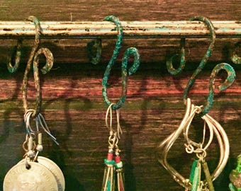 Set of 5 ~ 2 inch Patina Copper Hooks