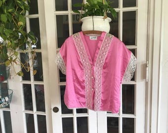 """Vintage Baby Pink and Lace Silk """"Sleep"""" Shirt : Size L"""