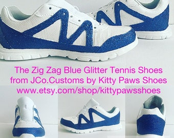 Women's White Blue Glitter Striped Fun Sports Handmade Back To School Tennis Shoes from JCo.Customs by Kitty Paws Shoes