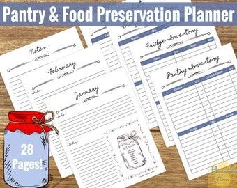 Printable Pantry & Food Preservation Planner | Canning Planner| Pantry Inventory | Freezer Inventory | Fridge Inventory