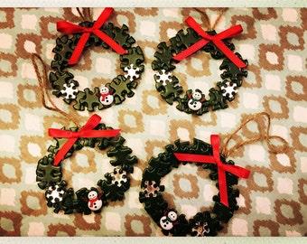 Handpainted Mini Puzzle Wreath Ornaments w/Snowmen