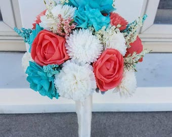 Mini Sola Wood Teal & Coral Bouquet