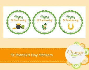 St Patrick's Day Stickers, St Patrick's Day Cupcake Toppers, Hershey Kiss Candy Stickers
