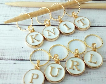 KNIT and PURL knitting stitch markers - worded progress markers- stylish letter stitch markers