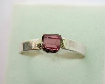 Natural Pink Tourmaline Ring Set in Sterling Silver - Gift idea