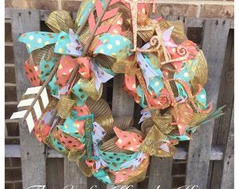 Birthday Wreath, Daughter Birthday Wreath, Mint and Coral Wreath, Birthday Party Decor, Baby Girl Wreath, Nursery Wreath, Arrow Wreath