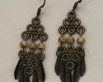 Antique Brass Leafy Dangles
