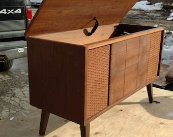 Vintage original mid century modern record player sound system chest