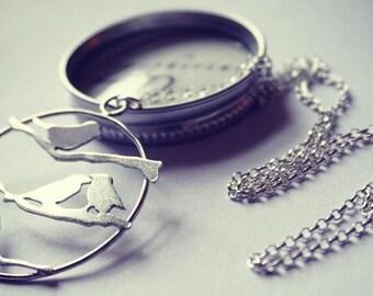 Four calling birds - Silver songbird pendant and chain. Bird necklace.