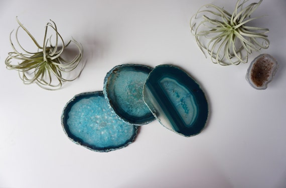 Gilded-Edge Agate Coasters - TEAL - Sets of 2/4/6+ - Housewarming gift - Christmas gift - Home - Home Decor - Apartment - Drinkware