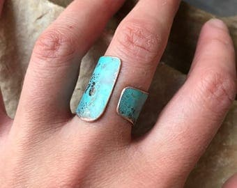 Wide Copper Wrap Ring -  turquoise adjustable artistic hand forged rustic bohemian unique matte patina band