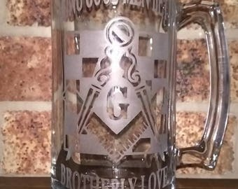 Custom Masonic Beer Mug Making Good Men Better Brotherly Love
