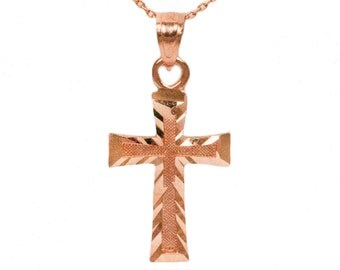 10k Rose Gold Cross Necklace