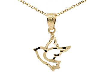 10k Yellow Gold Dove Necklace