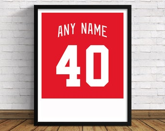 Detroit Red Wings Custom Jersey Back | Any Name & Number | Art Print | Perfect Gift for Hockey Fans