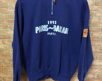 Vintage Pajero Dakar Paris Rally Half Zipper Sweatshirt Pullover Jumper Blue L