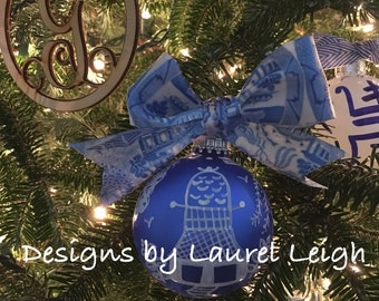 Blue and White Chinoiserie Ornament | IN STOCK - Pagoda, OIL, Hostess, Holiday, Christmas, Housewarming, Gift, Blue Willow, Christmas