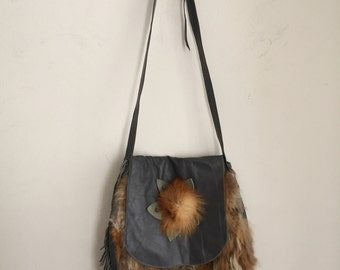 Crossbody bag, from real fox fur, leather and leather fringe, original handmade handbag, vintage style handbag, red&gray color, size - large