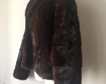Brown winter fur mink coat women's size medium .