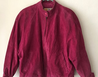 Pink women's short jacket, made from real suede, really soft suede, bright jacket for lady's, vintage style, size-medium.