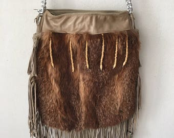 Red fox fur leather big size fringe hand made recycling bag made USA Sharlize & Kyle couture style .