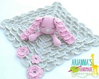 Bunny lovey blanket / Crochet lovey blanket / Baby girl lovey / Baby shower gift / Baby lovey / snuggle blanket